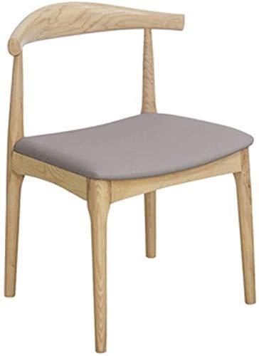 FHW Massivholz-Horn, Roundside Rückenlehne for Home/Restaurant/Schreibtisch/Studie/Wohnzimmer/Empfangsraum/Büro Schwarz 53x46x78CM (Farbe: Grau) FACAI (Color : Gray)