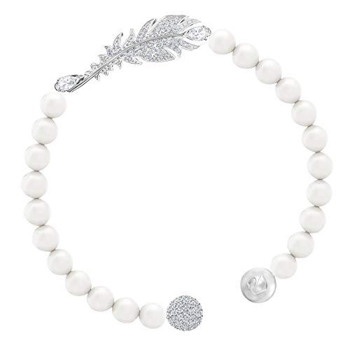Swarovski Braccialetto Nice Pearl, Bianco, Placcatura Rodio