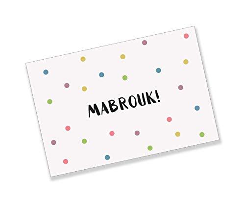 10 Stück Islamische Grußkarte Mabrouk von Imanpaper   Muslimische Geschenk-Karte für jeden Anlass   Innen mit einem Koran Vers versehen I Hochzeit, Geburtstag, Mevlit, Beschneidung