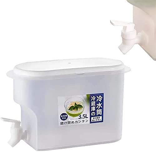 Jugo Cubo refrigerador 3.5L Jarra de Agua con Grifo Jugo de limón, Dispensadores de Bebidas en LED con Almacenamiento, Hervidor de Agua fría con Tapa, para Jugo Té Helado Café de Vino
