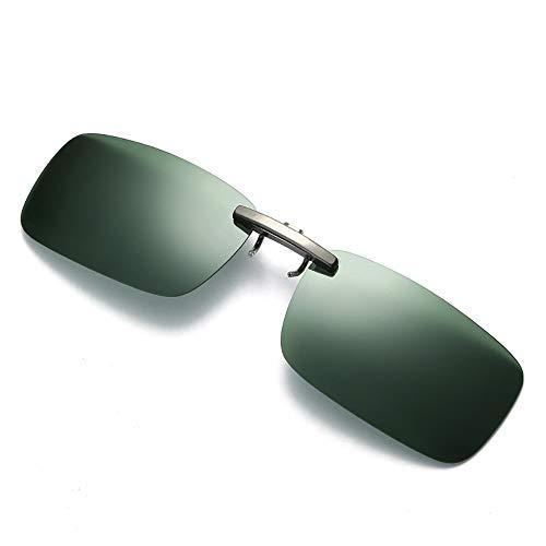 Dorical Unisex Brille, Damen Herren Abnehmbare Nachtsicht-Objektiv Fahren Metall polarisierte Klipp auf-Glas-Sonnenbrille Sale(Grün)