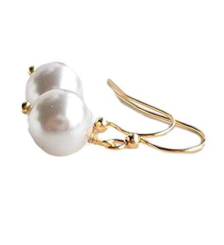 no see long time Pendientes de Perlas Blancas, Pendientes de Perlas de Perlas para Boda, Pendientes de Perlas Colgantes, Perlas para Fiesta de Novia