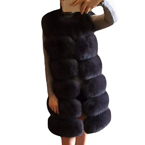 JEELINBORE Damen Winter Warme Elegant Kunstpelz Mantel Jacke Fellmantel Parka Lang Faux Felljacke Oberteile (Marine, CN XL)