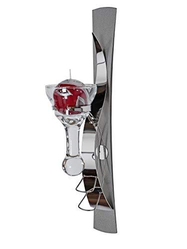 Moderne wandlamp kandelaar van metaal zilver hoogte 42 cm