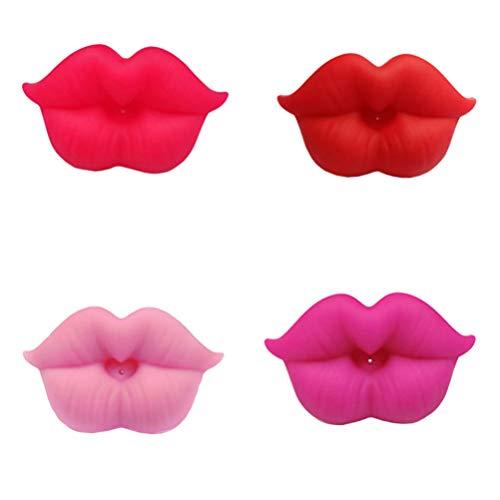 TOYANDONA 4pcs Schnuller des Babys Lippen, kreatives Krankenpflege Zubehör des lustigen Kuss Schnuller des Silikons für Baby oder Kleinkind dusche Geschenk-bpa geben frei