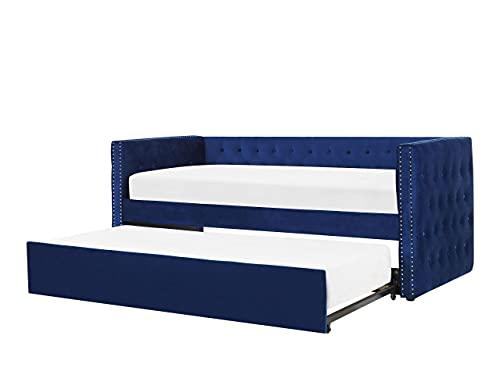 Beliani Cama Nido de Terciopelo Azul 90 x 200 cm GASSIN