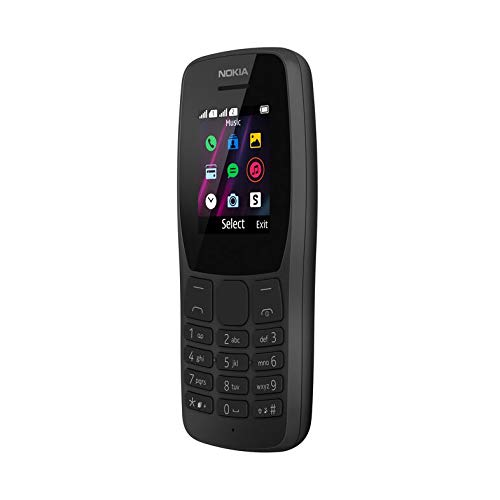 Nokia 110 - Téléphone portable débloqué (Ecran 1,77 pouces - 4Mo stockage -Double mini SIM) Noir