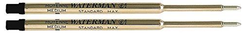 Waterman S0791030 Kugelschreibermine Standard Maxima, Strichstärke M, schreibfarbe schwarz | Einzeln und in verschiedenen Mengen zur Auswahl (2, schwarz)