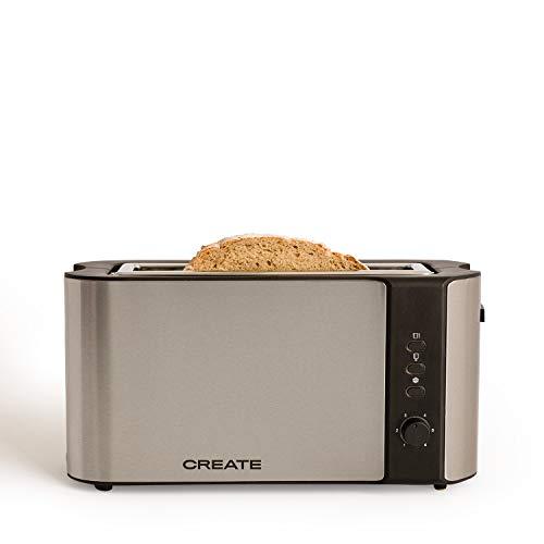 IKOHS Create Tostadora Toast Advance- Tostadora de Pan de Ranura Larga y Ancha, 1000W, Función de Extraelevación, Descongelado y Cancelación, 6 Niveles de Temperatura, Acero Inoxidable (Gris)