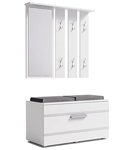 ADGO Opal - Set di mobili da corridoio, 3 in 1, armadi, specchi, grucce e scarpiere, guardaroba compatto per il vostro ingresso (set da corridoio, colore bianco) (spedizione in 2 confezioni)