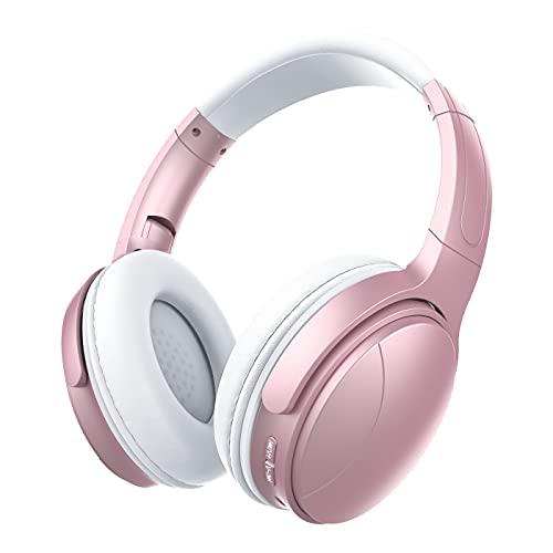 Auriculares Inalámbricos Diadema Bluetooth 5.0 Plegables con Control de Micrófono Incorporado Graves Profundos HiFi Estéreo, Cable de Audio de 3.5mm para Oficina Casa TV Niñas Adolescentes