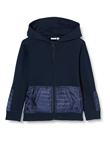 NAME IT Jungen NMMTAM LS Sweat Card WH BRU Sweatjacke, Dark Sapphire, 116