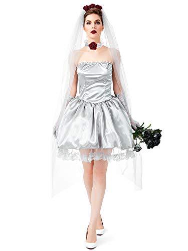Reina Vampiro Novia Fantasma Disfraz de Halloween Fiesta Cosplay Vestido de Novia Zombie