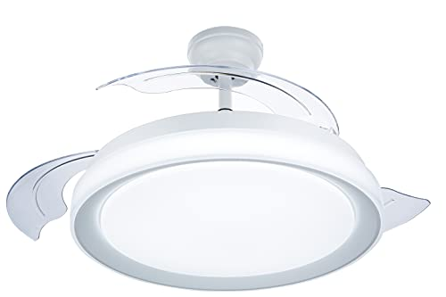 Philips Lighting Bliss - Ventilador de techo con luz LED y mando, 80W, luz blanca de cálida a fría (3000-5500K), diametro 510mm, color blanco