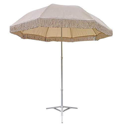 XBSXP Paraguas de jardín al Aire Libre Hecho a Mano algodón Borla Encaje Ocio protección Solar Paraguas de Patio con Base
