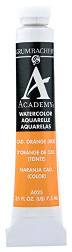 Grumbacher Academy Watercolor Paint, 7.5ml/0.25 Ounce, Cadmium Orange Hue (A025)