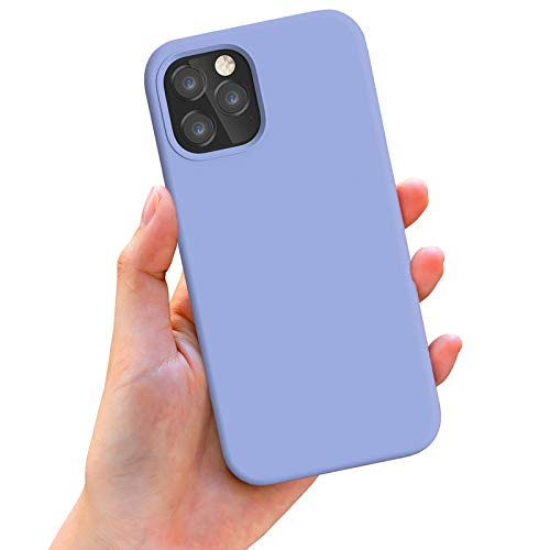 Anyos Compatible with iPhone 12 Case and iPhone 12 Pro Case 6.1 inch, Liquid Silicone Rubber Full Body Protective Phone Case with Soft Microfiber Cloth Lining for Women Men Girls Boys, Light Purple