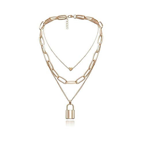 chenyou Pendant Multi Layer Lovers Lock Pendant Choker Necklaces Steampunk Padlock Heart Lockchain Necklace Collier Couple Gifts necklace (Metal Color : Heart Lock Gold)