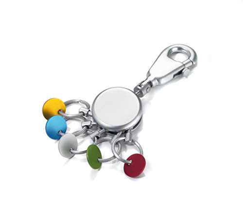 TROIKA  KYR61/MC PATENT SCHLÜSSELHALTER rund, matt Schlüsselanhänger Karabinerhaken 5 ausklinkbare Ringe, farbige Plättchen zur Zuordnung der Schlüssel
