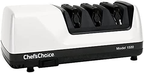 Chef's Choice AngleSelect Hone Electric Knife Sharpener for 15 and 20-Degree Knives 100-Percent Diamond Abrasives Stropping Precision Guides, 3-Stage, White