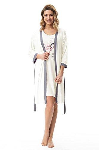e.FEMME Damen Kimono ASAMI 677 aus Viskose in Farbe Ecru, in Größe 48