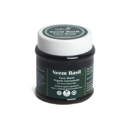 Rustic Art Organic Neem Basil Face Wash Concentrate 125g for Mild Exfoliation   Anti Acne, Pimples, For Oily, Acne Prone Skin