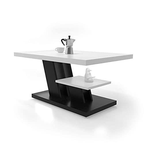 CYNTIA - Mesa de Centro - Mesa Centro - Mesa Comedor 90x60x45cm - Mesa de café - mesita Salon con un Estante - Muebles Salon Elegante - Mesa Salon - Moderno y Elegante (Blanco - Negro)