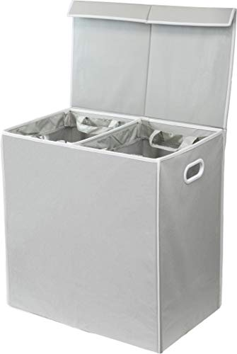 Simplehouseware Double Laundry Hamper with Lid and Removable Laundry Bags Grey