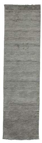CarpetVista Alfombra Handloom Fringes, Pelo Corto, 80 x 300 cm, Pasillo, Moderna, Lana, Corredor, Cocina, Salón, Comedor, Gris Oscuro