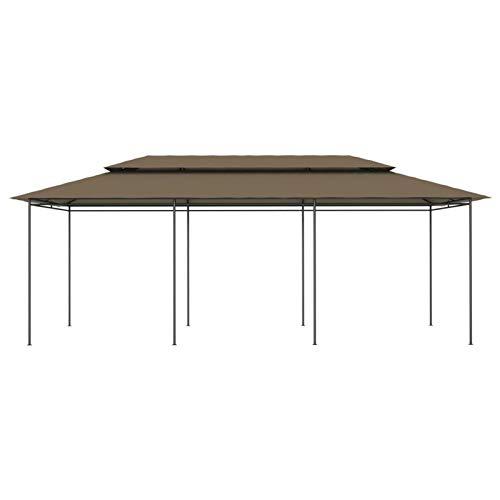 Kshzmoto Pabellón Exterior de Estructura de Acero, Material de Fibra de poliéster pabellón pabellón de Fiestas pabellón de jardín 600 x 298 x 270 cm-Modelo 2-Taupe