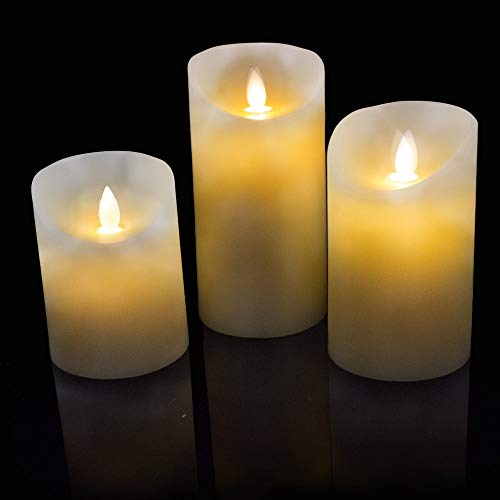 Tecwizz - Real Flame Effect LED Candles Set Real Wax Battery Powered Mood Lights Pack of 3 (Ivory)