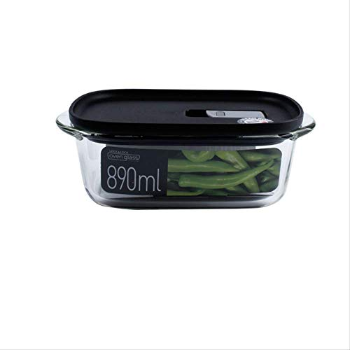 Boîte à lunch étanche portable Bento étanche Boîtes de rangement des aliments Boîte à lunch en verre Boîte de conservation pour four à micro-ondes Boîte à lunch adulte de grande capacité 890 ml Noir