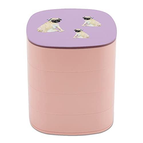 Rotar la caja de joyería diseño lindo Bulldog Pet Dog Francia caja de joyería pequeña con espejo, diseño de múltiples capas plato de joyería para mujeres y niñas