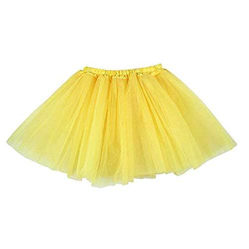 Ruiuzi Tutu-Rock für Kinder, Mädchen, klassisch, 4-lagig, Tüll, Tutu, Rock für Partys, Halloween, Partys, Kostüme (Gelb, Kinder (2-8 Jahre))