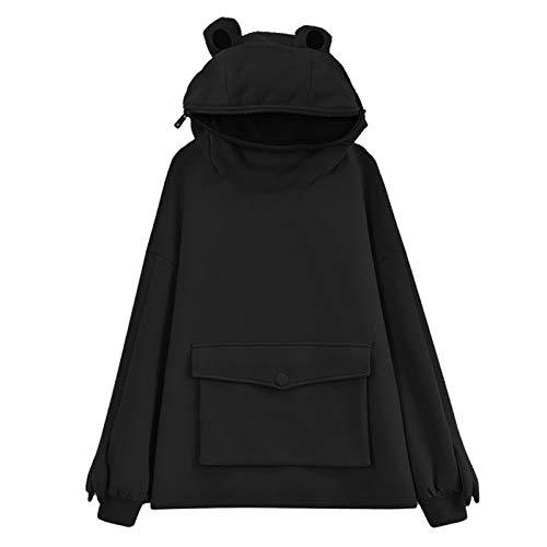 YiMiny Sudadera con capucha para mujer, diseño de rana, de gran tamaño, linda cabeza, con cremallera, con capucha, para fiestas de invierno.