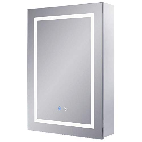 Chende Lighted Medicine Cabinet with Mirror, Bathroom Mirror Cabinet with 3-Color Lights and Defogger, Storage Wall Cabinet with Interior Mirrors, 28''H x 20''W