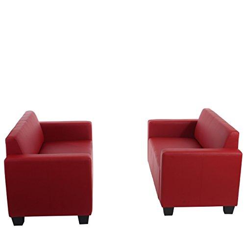 Mendler Sofa-Garnitur Couch-Garnitur 2X 2er Sofa Lyon Kunstleder - rot