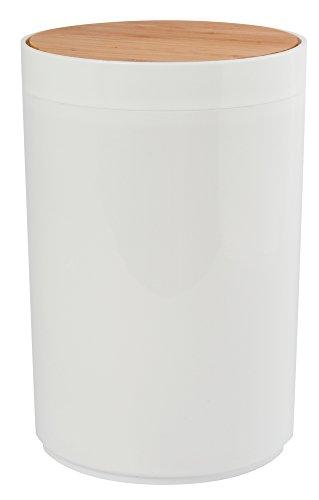 MSV Bad Serie Oslo Design Kosmetikeimer Bad Treteimer Abfalleimer Papierkorb Mülleimer 6 Liter (ØxH): ca. 18 x 26,3 cm weiß Bambus