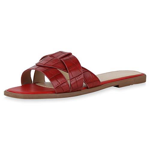 SCARPE VITA Damen Sandalen Pantoletten Cut-Outs Sommer Schuhe Bequeme Schlupfschuhe Flache Freizeitschuhe Sommersandalen 195633 Dunkelrot Kroko 37