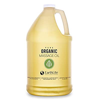 EARTHLITE Organic Massage Oil ? NEW FORMULA: Chemical Free, 100% Certified Organic, Finest Quality for Therapists & Clients, Unscented