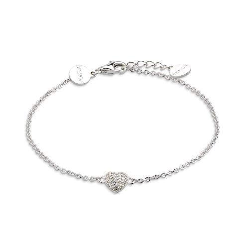 XENOX XS2782 Damen Armband Herz Love Story Sterling-Silber 925 Silber weiß Zirkonia 20 cm