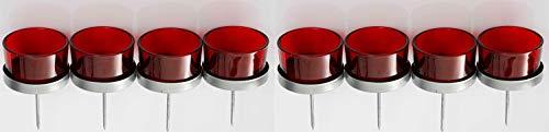 Novaliv 8X Kerzenhalter rot Teelichthalter Teelichtgläser Kerzenhalter zum Stecken Kerzenpicks für Adventskranz 5cm