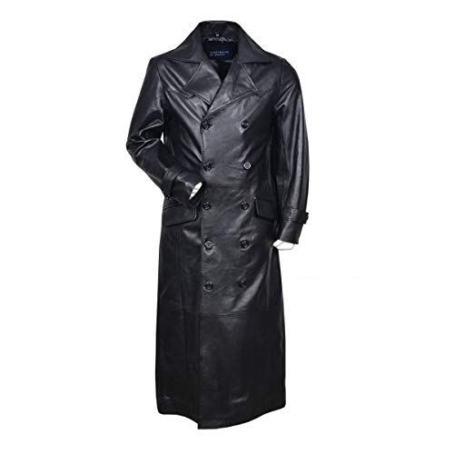 Men's German WWII Classic Officer Black Cowhide Leather Trench Coat (XL)
