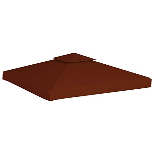 Tidyard 2-Stufiges Pavillondach Ersatzdach Ersatzbezug für Pavillon Gartenmöbel Gartenpavillon Partyzelt Dach Faltpavillon 310 g/m² 3x3 m Terracotta-Rot