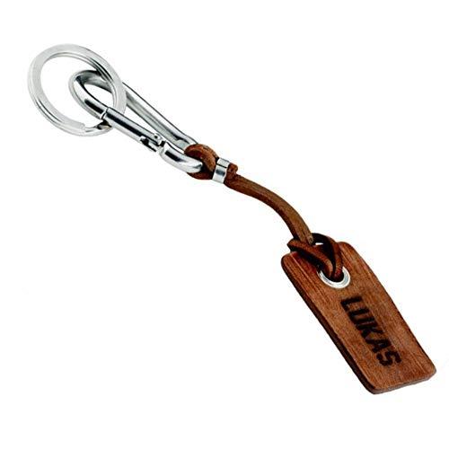Schlüsselanhänger mit Gravur personalisierbar mit Namen, Datum oder Logo | aus Leder und Edelstahl | in Handarbeit hergestellt | inkl. Karabiner + Schlüsselring | der Marke COWstyle® (braun)