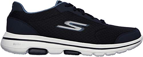 Skechers GO Walk 5 Qualify, Zapatillas para Hombre, Azul Navy Textile Synthetic Trim Nvy, 50 EU