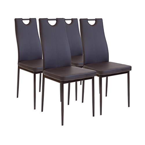 Albatros 2910 Salerno Set de 4 sillas de Comedor, marrón