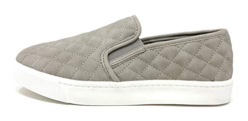 SODA Womens Quilted Casual Slip On Shoes (6, Grey)