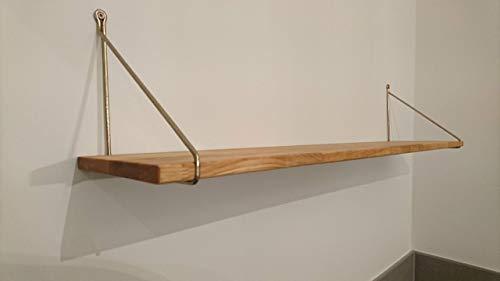 RegalBrett + Wandhalter 80 x 25 cm Birkenholz Natur Echtholz Stahl