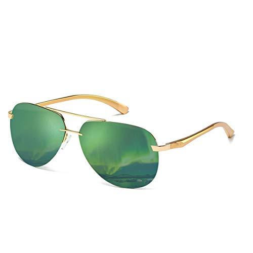 CHEREEKI Gafas de sol,  Retro Gafas de Sol Polarizadas Aviador Para Hombre y Para Mujer Protección UV400 Gafas de Sol con Diseño de Moda (Verde)